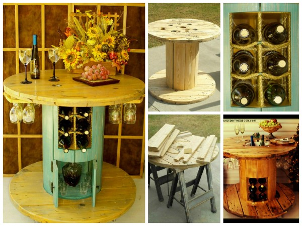 Wine Racks And Table Made From A Spool