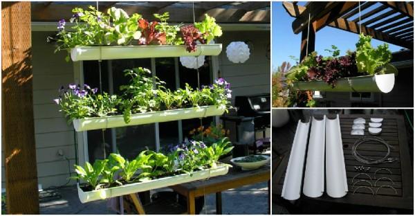 How To Make Hanging Gutter Vertical Garden