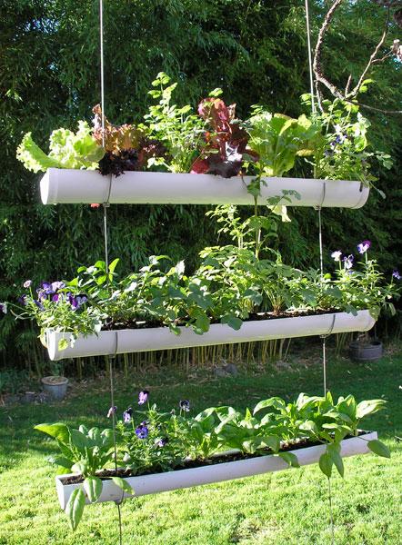How To Make Hanging Gutter Vertical Garden 9