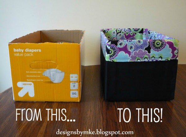 Storage Bins Made From Diaper Boxes