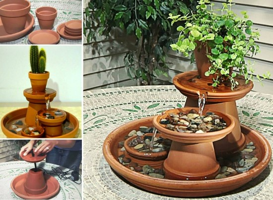 Water Fountain Made From Terra Cotta Pots