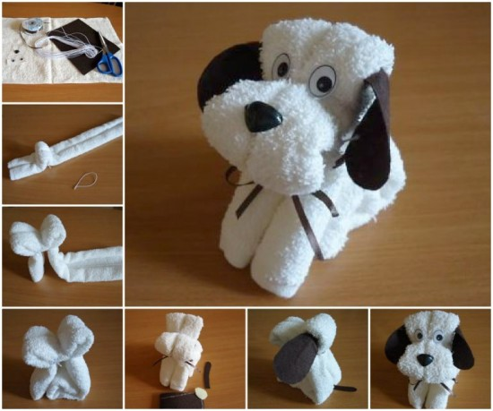 Baby gift ideas wash cloth puppies how to instructions - How to make towel decorations ...