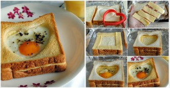 Breakfast Recipes - Heart Egg And Cheese Toast