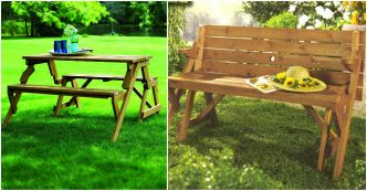 Super Diy 2 In 1 Convertible Folding Bench And Picnic Table Combo Evergreenethics Interior Chair Design Evergreenethicsorg