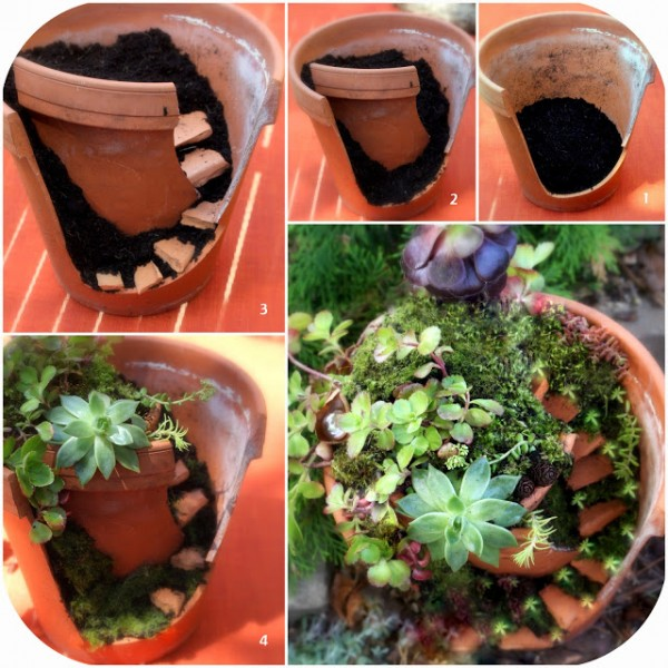 Garden Ideas Turn Broken Pots Into Fairy Gardens 1