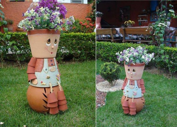 How to make diy clay pot flower people step by step for Flower pot making with waste material
