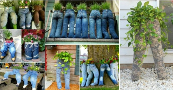 Recycled Jean Planters