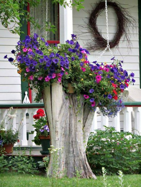 Tree Stump Planter Ideas 6