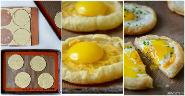 Breakfast Ideas Cheesy Puff Pastry Baked Eggs