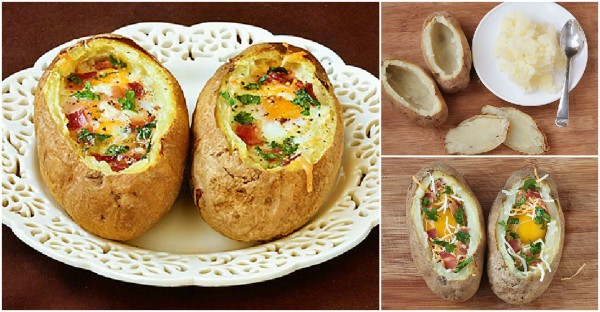 Breakfast Recipes Baked Eggs And Bacon In Potato Bowls