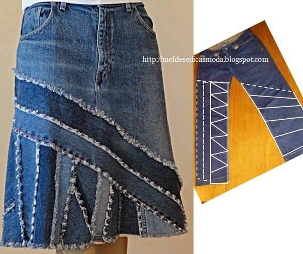 Юбка из старых джинс как сшить с