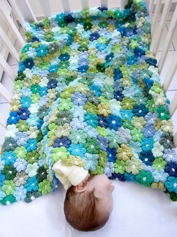 Crochet Flower Baby Blanket 3