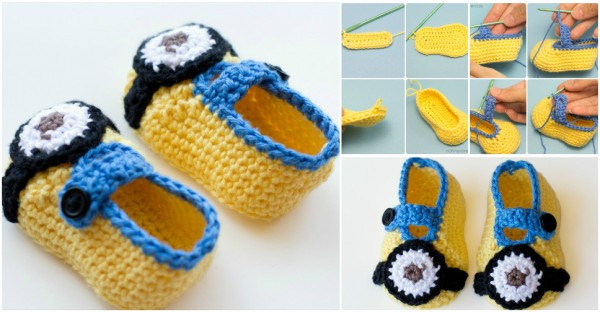 Free Crochet Pattern Minion Baby Booties : Minion Inspired Baby Booties Crochet Pattern How To ...
