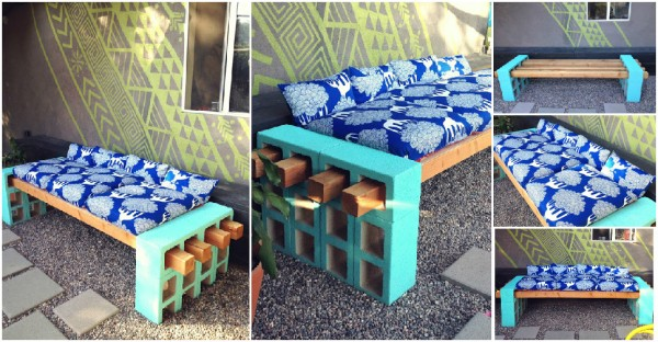 Outdoor Bench From Cinder Blocks