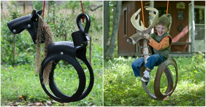 recycled-tires-into-a-horse-tire-swing