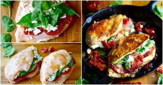 Tomato, Spinach, Cheese Stuffed Chicken