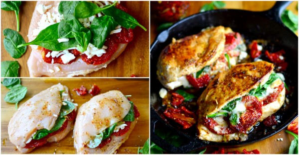 Tomato, Spinach, Cheese Stuffed Chicken