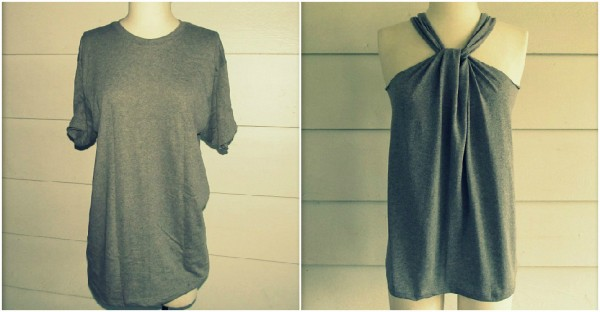 Halter Top From A T Shirt - No Sew Required