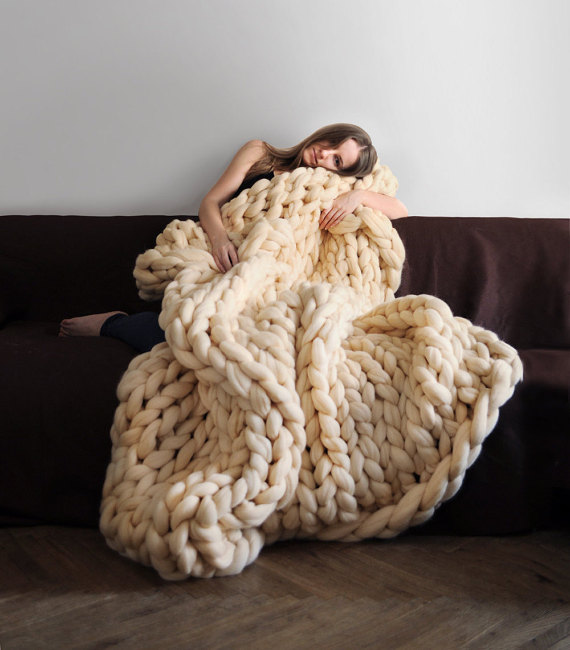 Super Chunky Knit Blanket 1