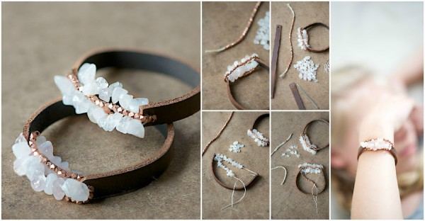 Chunky Leather Bracelet Tutorial