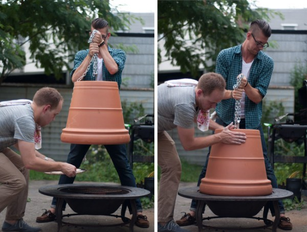 DIY Pizza Oven Using A Fire Pit And A Flower Pot