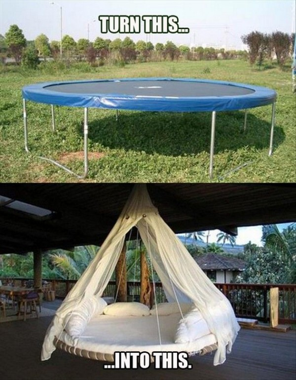 DIY Trampoline Hanging Bed