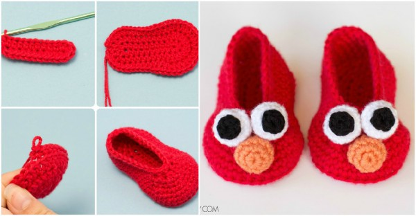 Elmo Inspired Baby Booties Crochet Pattern