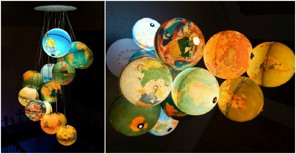 Gorgeous Recycled Globe Chandelier Lights