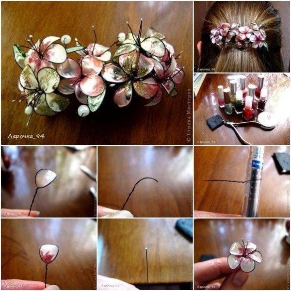 How To Make Beautiful Nail Polish Flower Jewelry 5