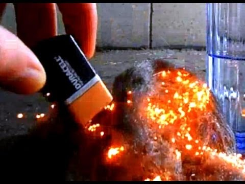 How To Start a Fire with Steel Wool & 9V Battery