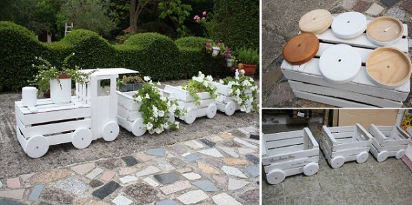 Train Planters Out Of Old Crates