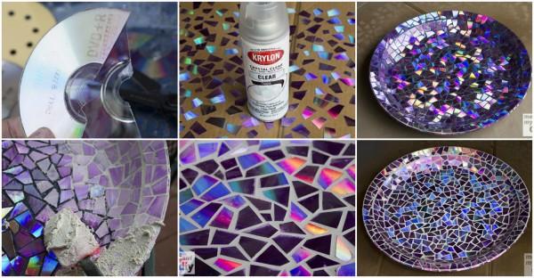 DIY Mosaic Tile Birdbath using Recycled DVDs