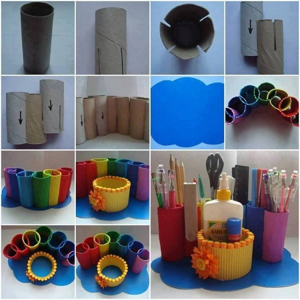 DIY Toilet Paper Roll Desk Organizer 1