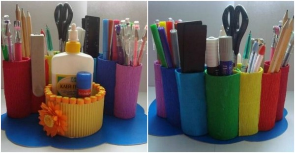 DIY Toilet Paper Roll Desk Organizer 2