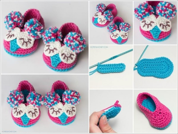 Crochet Animal Baby Booties Pattern : Owl Baby Booties Crochet Pattern How To Instructions