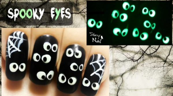 Glow In The Dark Spooky Eyes Halloween Nail Art 1