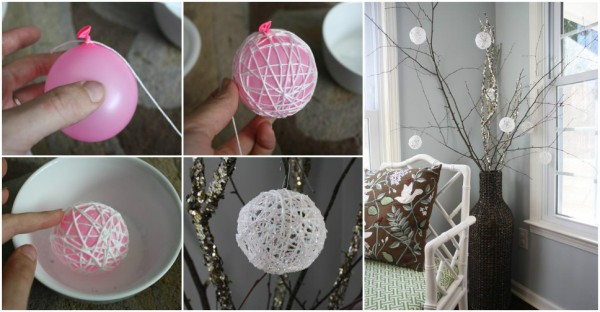 How to make diy glittery string snowballs how to Easy christmas decorations to make at home