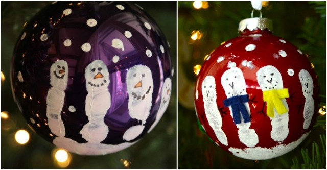 How To Make Hand Print Snowman Ornaments 1