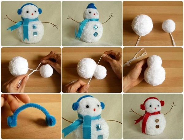 How To Make Pom Pom Snowman 1