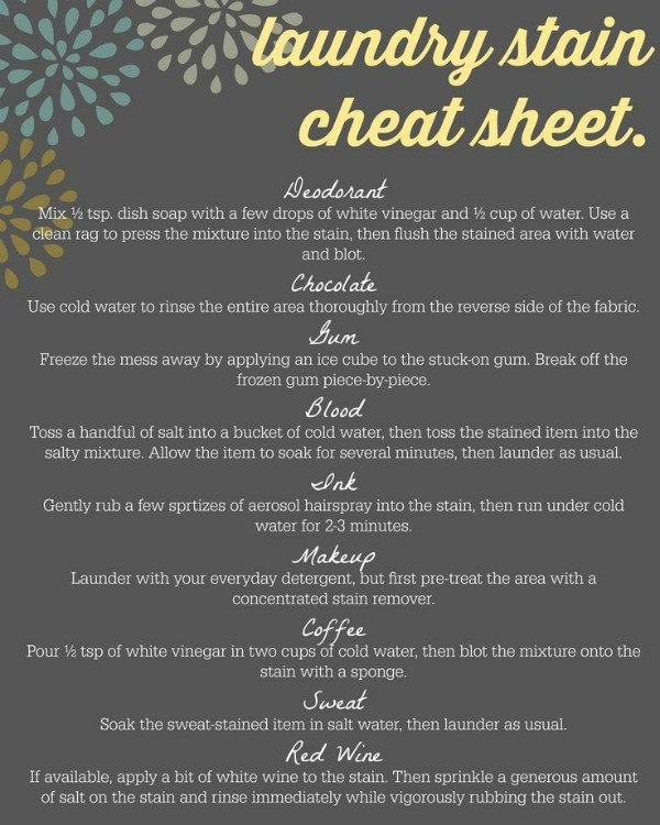 Laundry Stain Removal Cheat Sheet 6