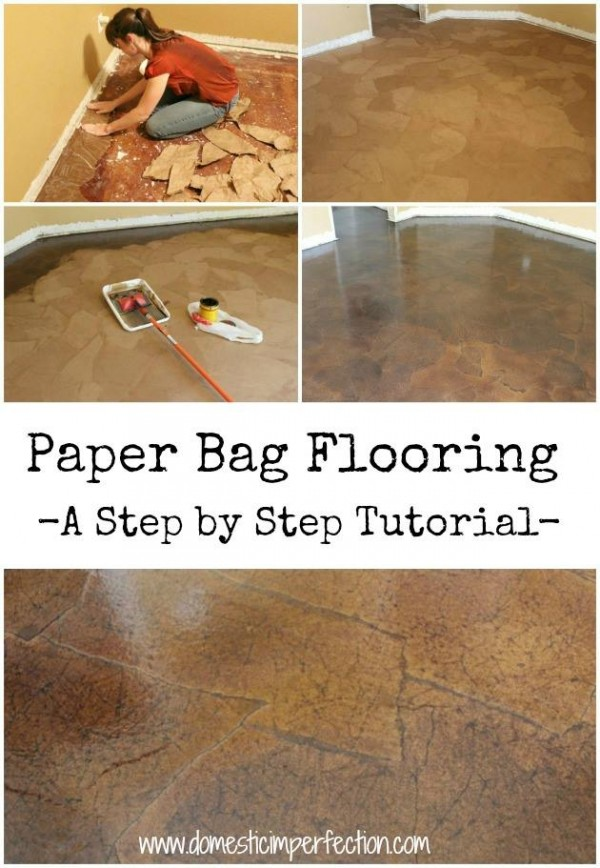 How to make paper bag floor how to instructions for Diy wood flooring ideas
