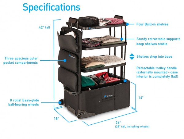 ShelfPack - Suitcase With Collapsible Shelves Built In 1