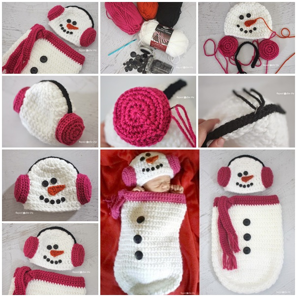 Crochet Snowman Ear Muff Hat and Cocoon 1