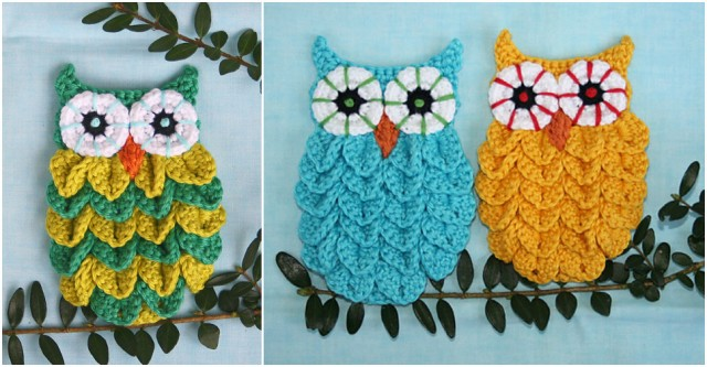 Crocodile Stitch Crochet Owl 3