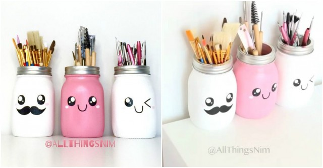 Cute Mason Jar Brush Holder
