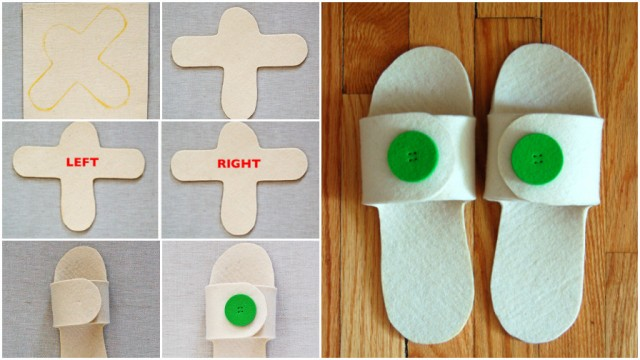 Felt Button Open Toe Slippers