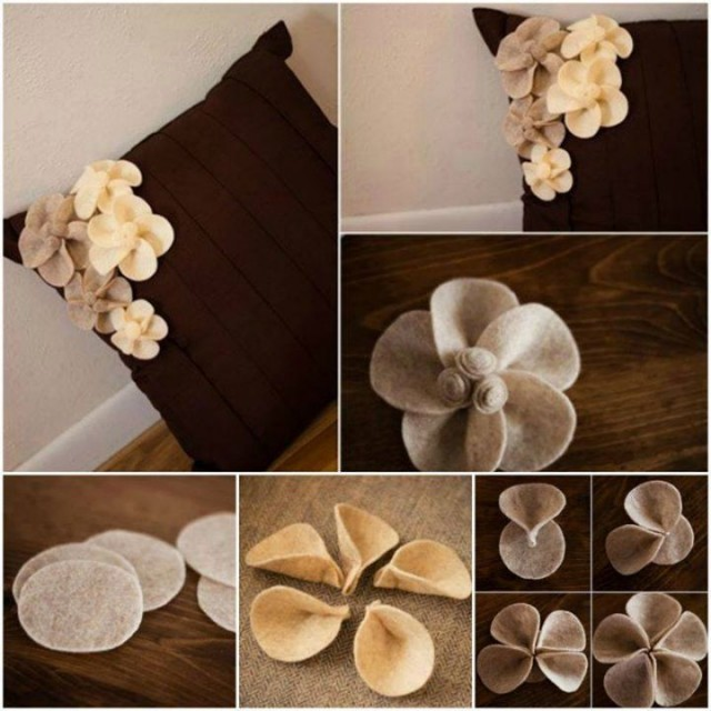 Felt Flower Pillow Tutorial 1