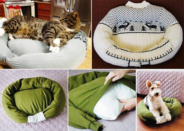 How To Upcycle An Old Sweater Into A Pet Bed