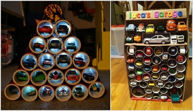 Toilet Paper Roll Toy Car Garage Organizer Ideas How To