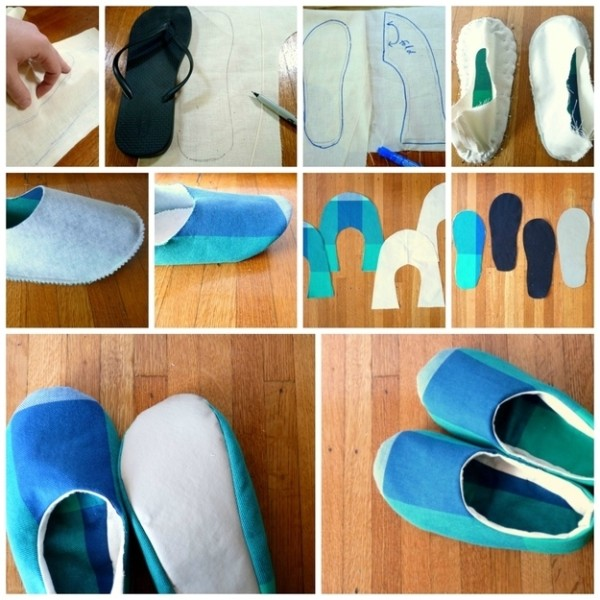 Simple Sewn Fabric Slippers 1